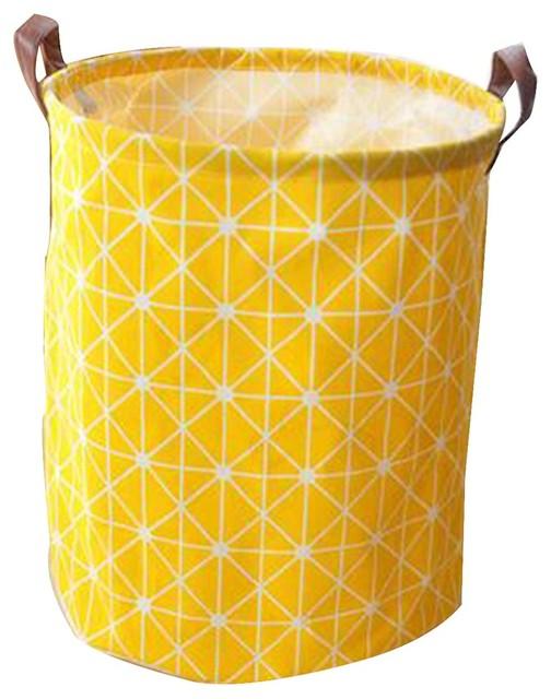 Cotton Linen Waterproof Laundry Basket, D.