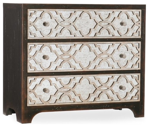 Beaumont Lane 3 Drawer Fretwork Accent Chest in Ebony