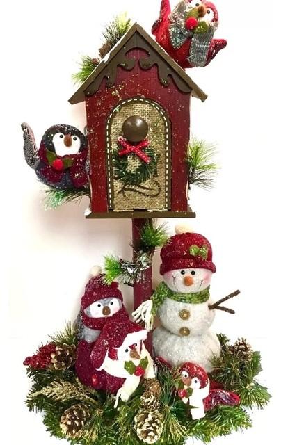 Christmas Centerpiece Snowman Owl Bird Winter Christmas Birdhouse Arrangement