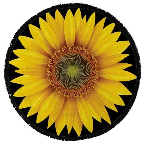 Sunflower Round Beach Towel.