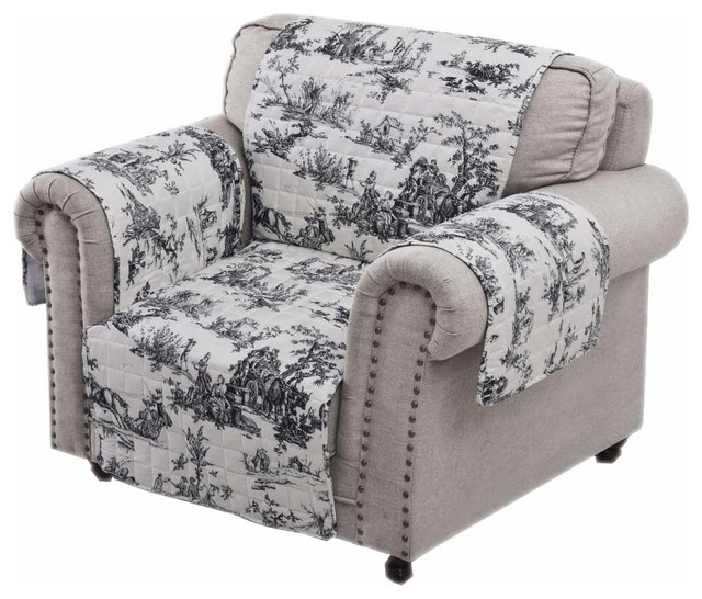 Cool Classic Toile Waterproof Arm Chair Furniture Protector 84X81 Black Caraccident5 Cool Chair Designs And Ideas Caraccident5Info