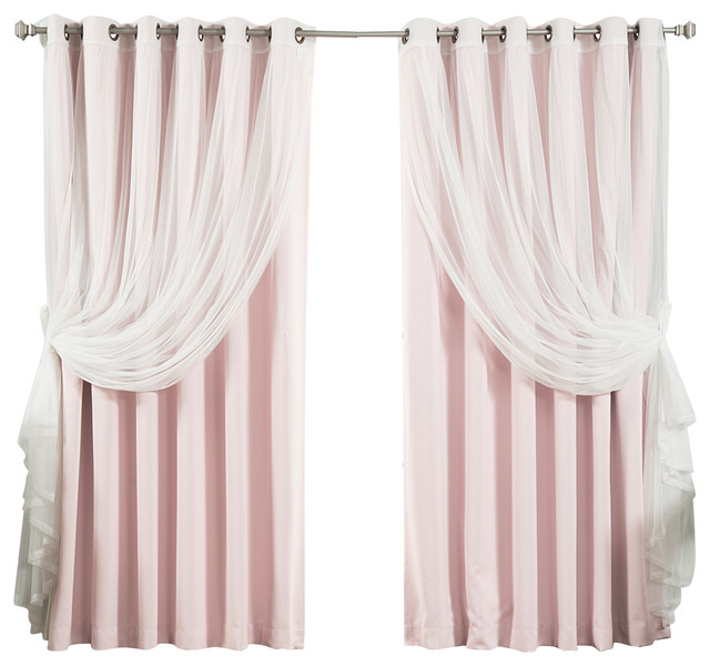 Wide Width Tulle Sheer Lace Blackout 2 Piece Curtain Set Contemporary Curtains By Best