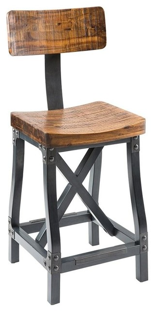 Astounding Industrial Rustic Modern Acacia Wood Counter Height Bar Stools With Back Beatyapartments Chair Design Images Beatyapartmentscom