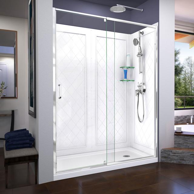 Flex 30 X60 X76 3 4 Pivot Shower Door Slimline Shower Base And