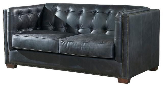 Marvelous Top Grain Vintage Leather Tuxedo Love Seat Slate Customarchery Wood Chair Design Ideas Customarcherynet