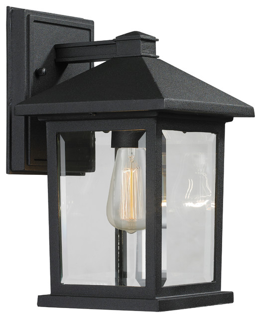 1 Light Outdoor Wall Light, Black/clear Beveled.
