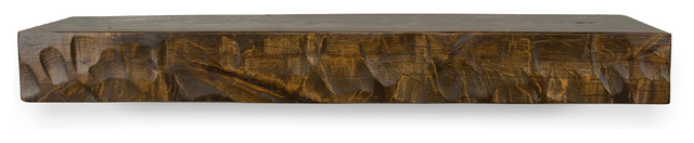 "Rough Hewn Fireplace Mantel, Rustic Floating Shelf, Dark Chocolate, 72""."