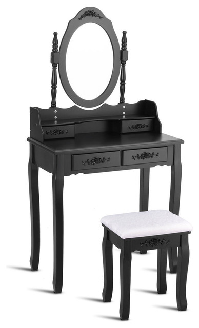 Pleasant Costway Vanity Wood Makeup Dressing Table Set Bedroom Mirror 4 Drawers Black Gmtry Best Dining Table And Chair Ideas Images Gmtryco