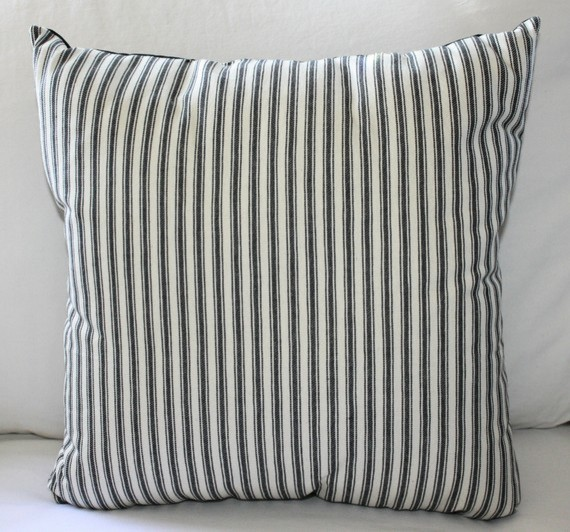 Black and White Ticking Pillow