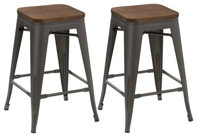 24 Antique-Style Gunmetal Stackable Metal Stools Handmade Wood Seat, Set Of 2.