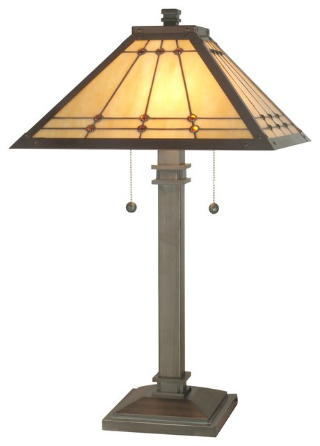 Dale Tiffany Jeweled Mission Table Lamp.
