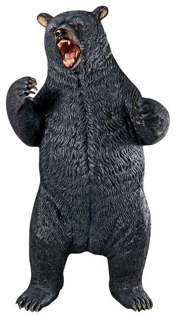 Superbe Growling Black Bear Statue