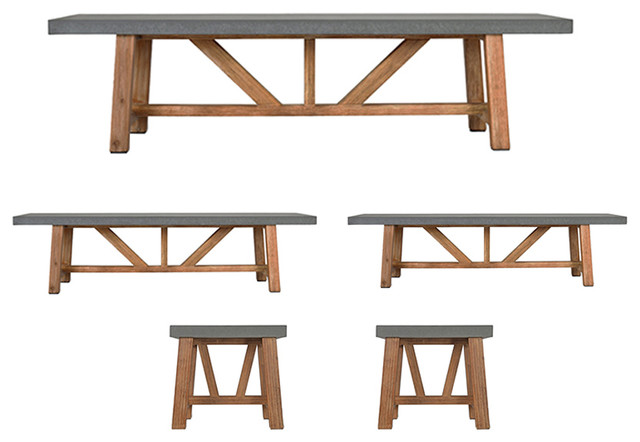 Chilson Outdoor Table and Bench Set, 5 Pieces