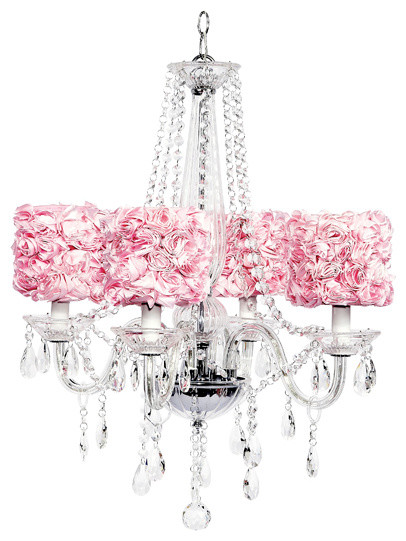 4-Light Middleton Glass Chandelier With Rose Shades