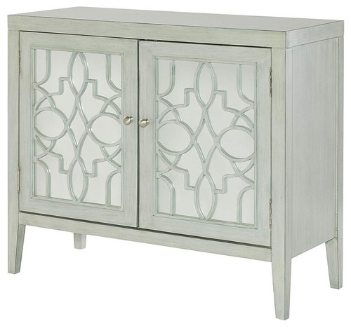 Hammary Hidden Treasures Mirrored Door Cabinet, Gray 090-764