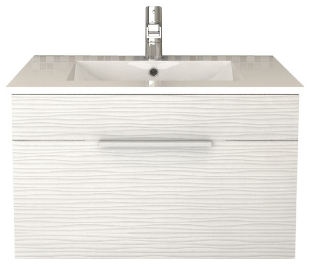 "Vancouver Textured Floating Bathroom Vanity, White, 30""."