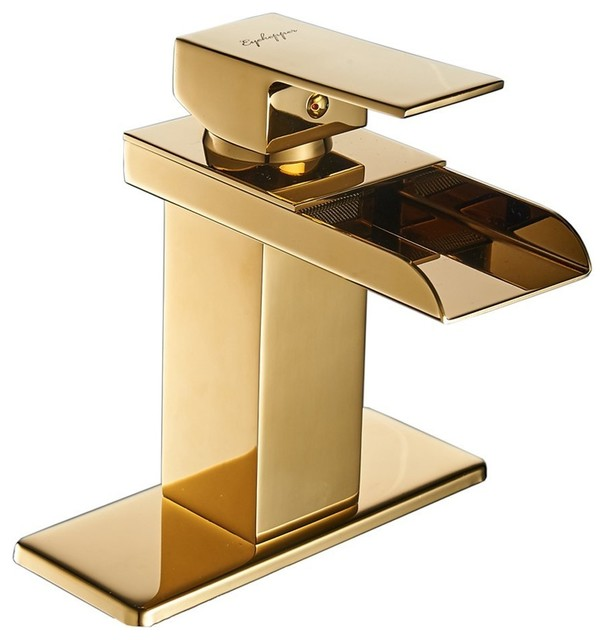 Chrome Waterfall Bathroom Faucet, Gold.