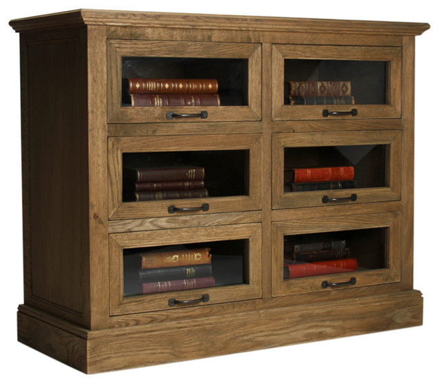 Kathy Kuo Home Eaton Rustic Oak Wood Mantle Glass Cabinet - 6 Drawer - Storage Cabinets | Houzz