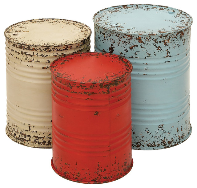 Country Style Set 3 Metal Drum Tables Blue Red White Rustic Accent Decor