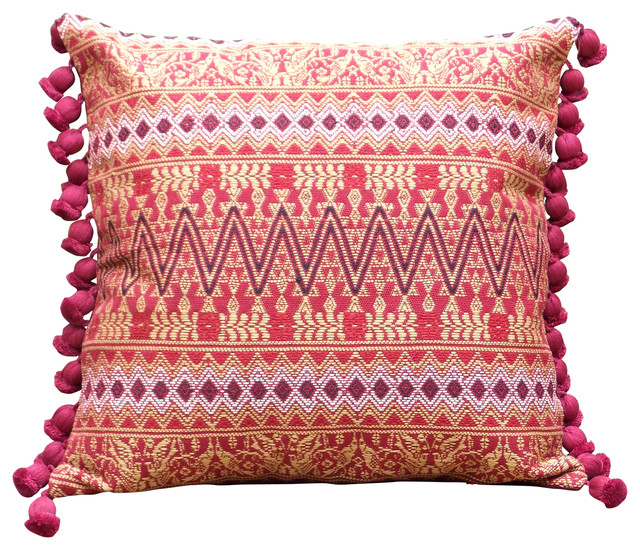 Canyon Tassel Fringe Throw Pillowcase, Burgundy - Southwestern - Pillowcases And Shams - by ...