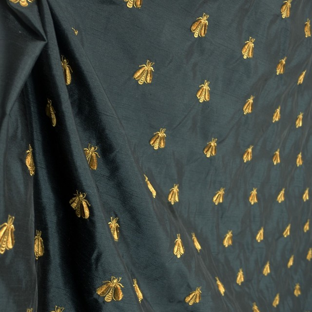 Bumble Black 263a Embroidered Poly Drapery Bee Fabric
