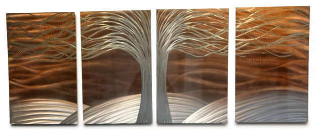 Metal Wall Art Decor Abstract Contemporary Modern Sculpture  Tree Of Life  Copper Modern Wall