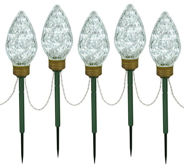 c shape extra large lighted led christmas pathway markers lawn stakes clear with large lighted outdoor christmas decorations