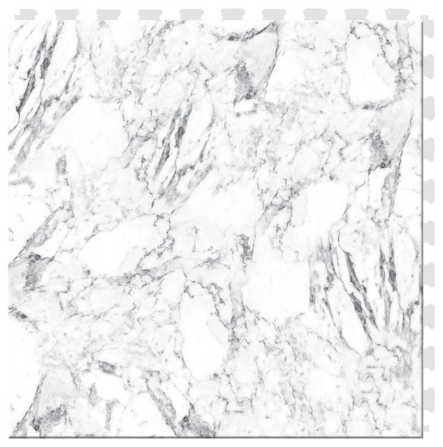 "20""x20"" White Marble Luxury Vinyl Tile, Set Of 6."