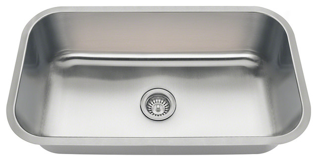 Polaris Pc8123 Single Bowl Undermount Stainless Steel Sink, Brushed Satin.