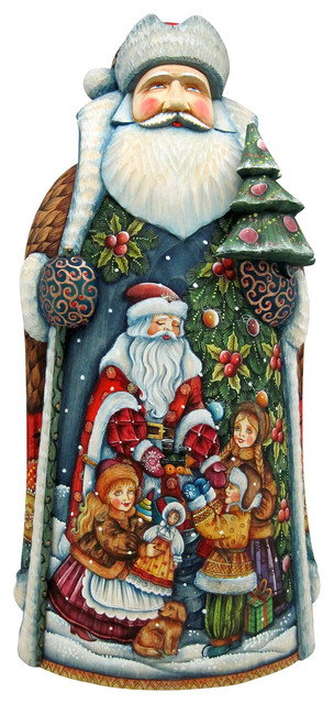 Gift Giving Children With Tree, Woodcarved Figurine.