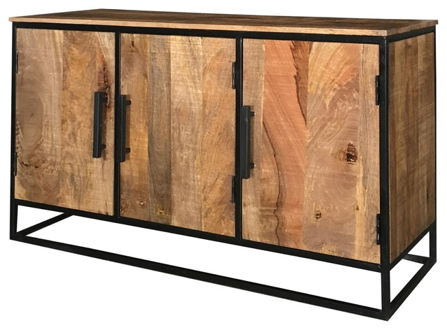 Sawn Finish Industrial Low Mango Wood 3-Door Sideboard With Iron Frame