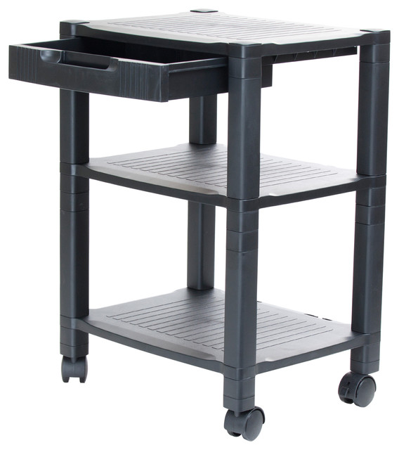 Mind Reader Classify 3 Shelf Mobile Printer Cart, Black Contemporary Office  Carts