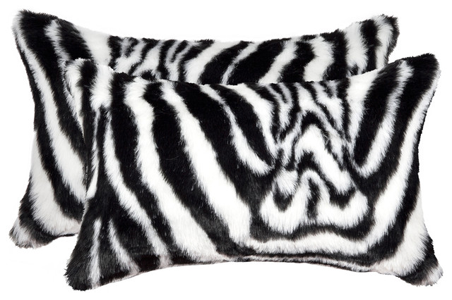 "Belton Faux Fur Pillows, Set Of 2, Denton Zebra Black/white, 12""x20""."