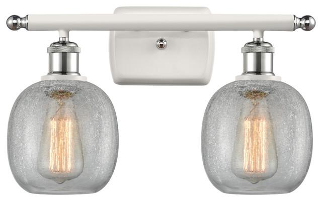 Belfast 2-Light Bath Vanity-Light, White and Polished Chrome, Clear Crackle