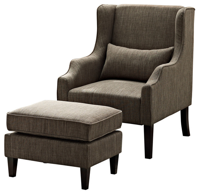 Ashbury Wingback Club Chair and Ottoman  Fawn Brown  transitional armchairs and accent. Ashbury Wingback Club Chair and Ottoman   Transitional   Armchairs