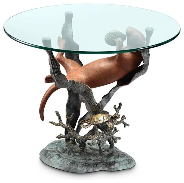 Shop Houzz Spi Bronze Finish Sea Otter Glass Top End