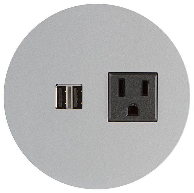 Small Round Flush Power Grommet- 1 Elec, Dual USB - Contemporary ...