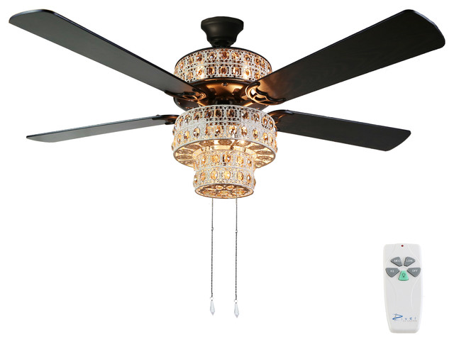 Antique White And Champagne Crystal Ceiling Fan.