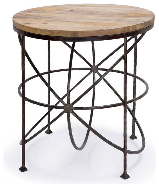 Alchemy Rustic Industrial Loft Wood Iron Orbit Round Side Table Industrial  Side Tables