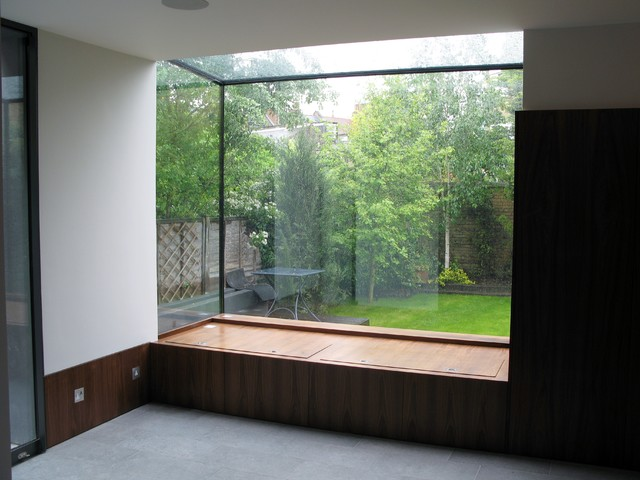 Window Seat With Storage Constructed Within Glass Box