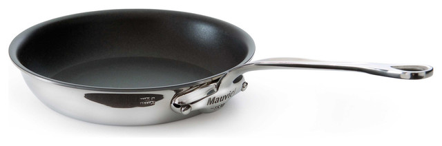 "Mauviel M&x27;cook Stainless Steel Non-Stick Round Frying Pan, 10.2""."