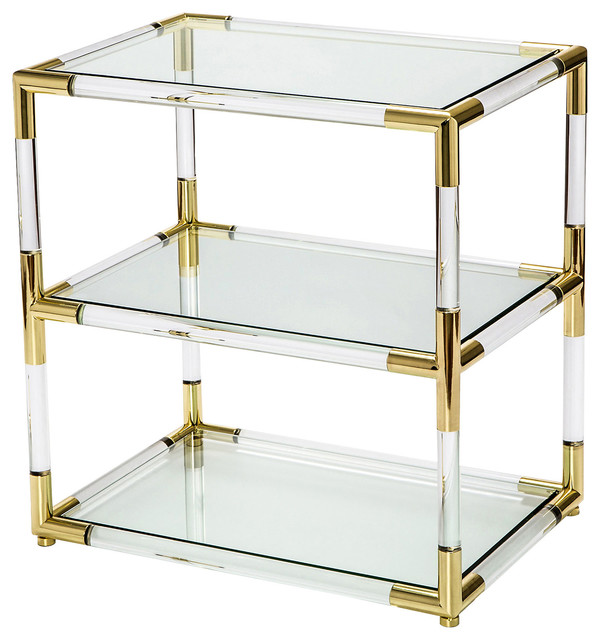 Wonderful Cecil Modern Brass Corner Clear Acrylic End Table Modern Side  Tables And Part 14