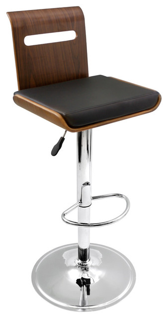 Lumisource Viera Barstool, Walnut and Black