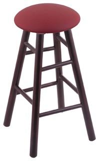 XL Maple Round Cushion Bar Stool, Smooth Legs, Dark Cherry, Allante Wine Seat
