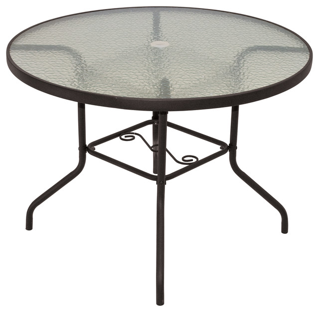 Round Patio Table With Tempered Gl
