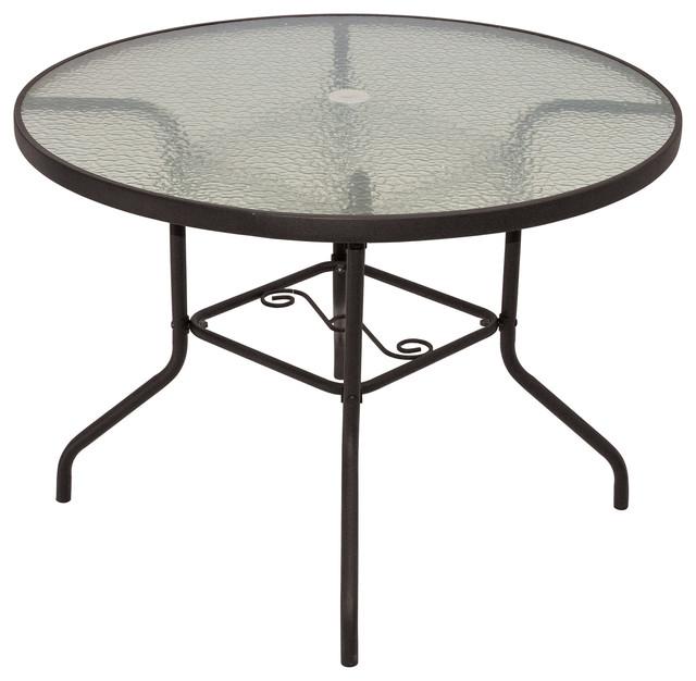 Rio Brands Sienna Metal Round Patio, Round Glass Patio Table