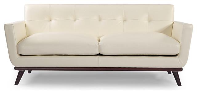 Jackie Midcentury Modern Classic Loveseat, Aniline Leather, White.