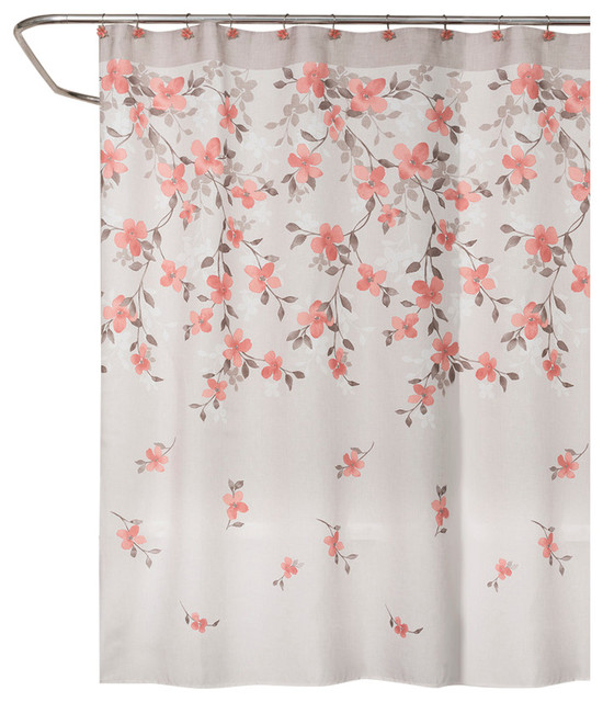 Saturday Knight Coralgarden Floral Shower Curtain Contemporary