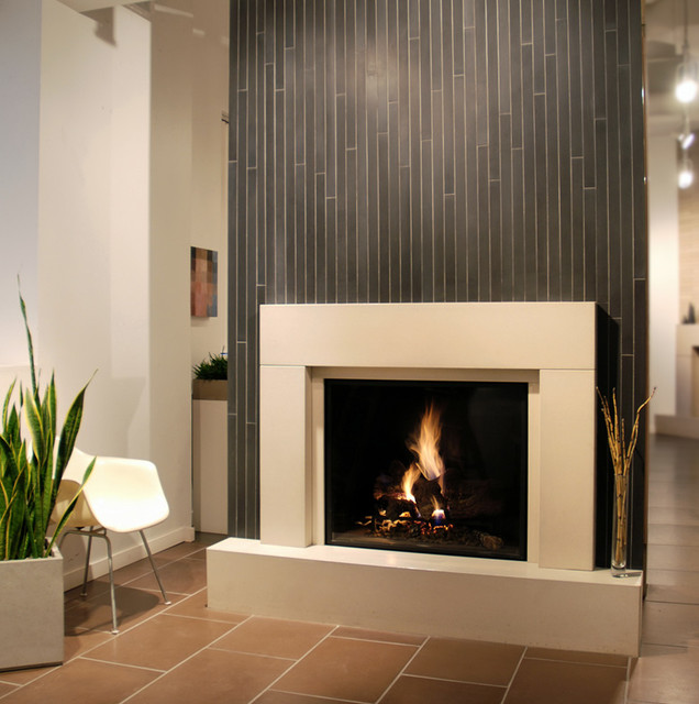 Modern fireplace with offsetting color tiles - Contemporary ...