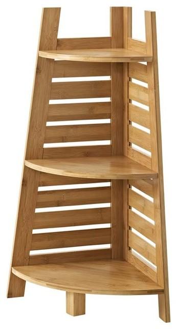 Linon Bracken 3-Shelf Corner Bamboo Bookcase, Natural